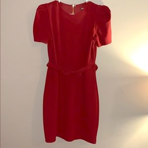 Express red dress w bow belt